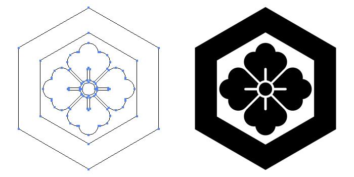 家紋・一重亀甲に花角のプレビュー画像とパス画像