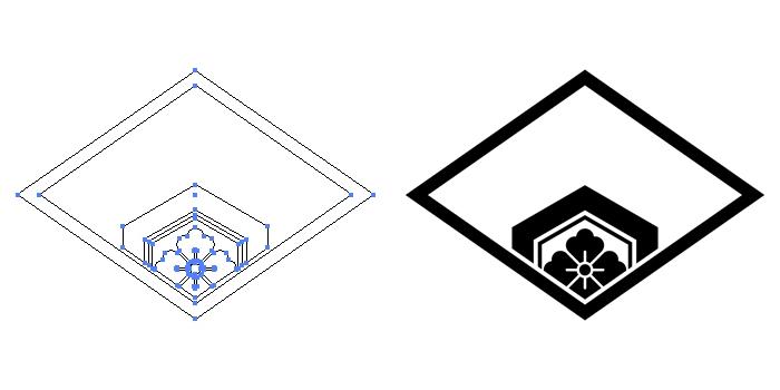 家紋・糸菱に覗き亀甲花菱のプレビュー画像とパス画像
