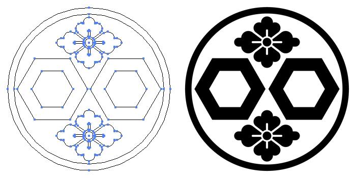 家紋・糸輪に二つ亀甲に花角のプレビュー画像とパス画像