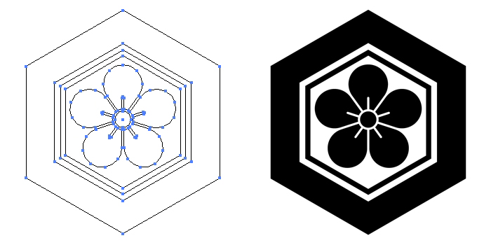家紋・亀甲に梅花のプレビュー画像とパス画像