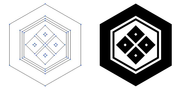 家紋・亀甲に四つ目のプレビュー画像とパス画像