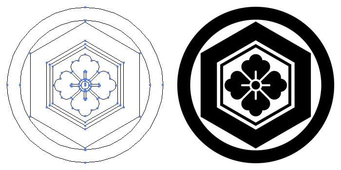 家紋・丸に亀甲花角のプレビュー画像とパス画像