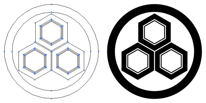 家紋・丸に三つ盛り亀甲のプレビュー画像とパス画像