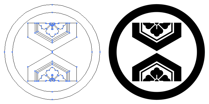 家紋・丸に向かい割り亀甲に花角のプレビュー画像とパス画像