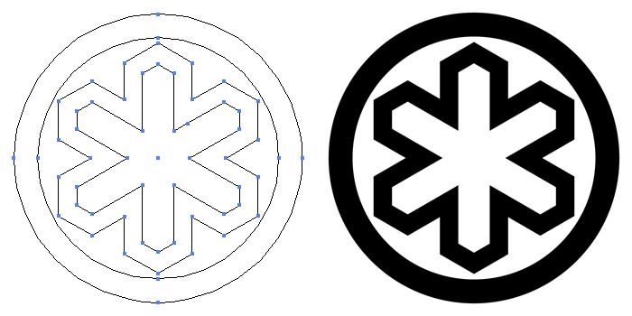 家紋・丸に六方亀甲形のプレビュー画像とパス画像