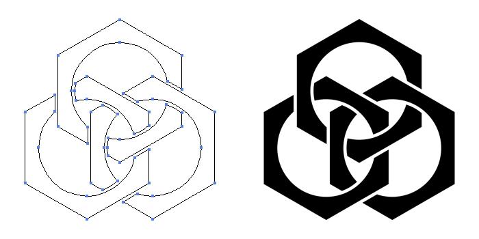 家紋・三つ組み合い鉄砲亀甲のプレビュー画像とパス画像