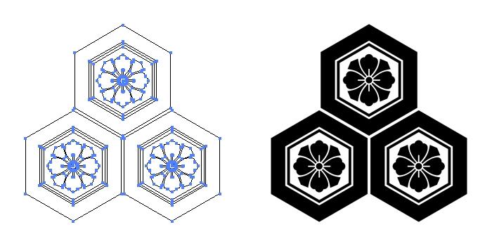 家紋・三つ盛り亀甲に剣花角のプレビュー画像とパス画像