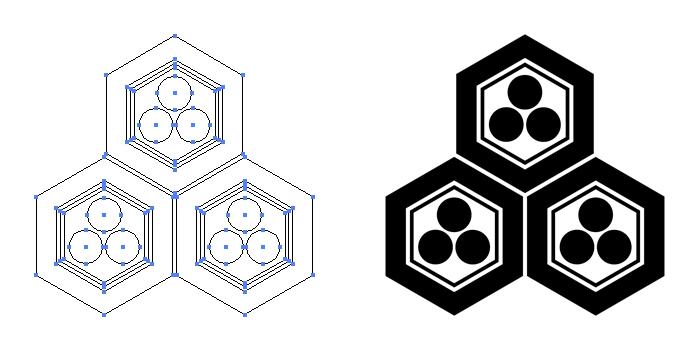 家紋・三つ盛り亀甲に三つ星のプレビュー画像とパス画像