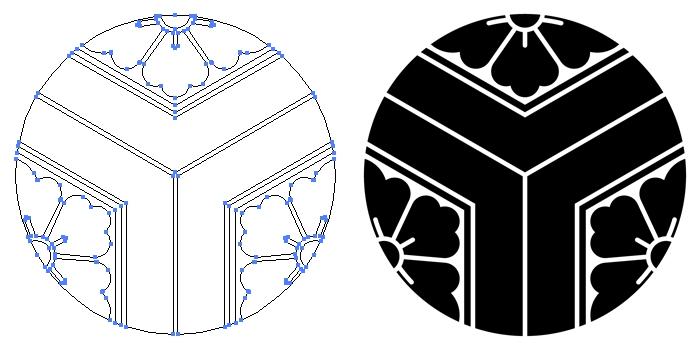 家紋・三つ割亀甲に花菱のプレビュー画像とパス画像