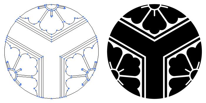 家紋・持ち合い三つ割り亀甲に花角のプレビュー画像とパス画像