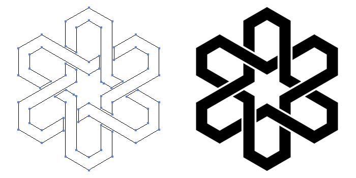 家紋・三つ組み合い亀甲のプレビュー画像とパス画像