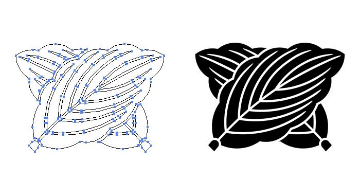 家紋・違い柏のプレビュー画像とパス画像