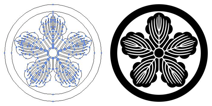 家紋・中輪に五つ柏のプレビュー画像とパス画像