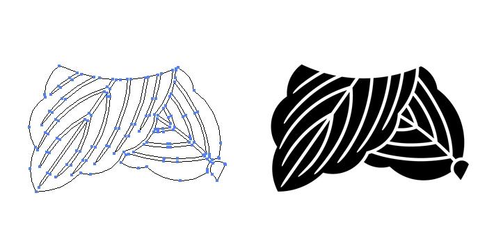 家紋・一つ折れ柏のプレビュー画像とパス画像