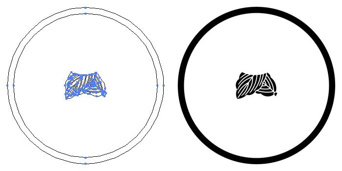 家紋・糸輪に離れ折れ柏のプレビュー画像とパス画像