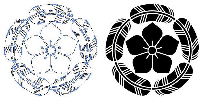 家紋・五つ鷹の羽丸に桔梗のプレビュー画像とパス画像