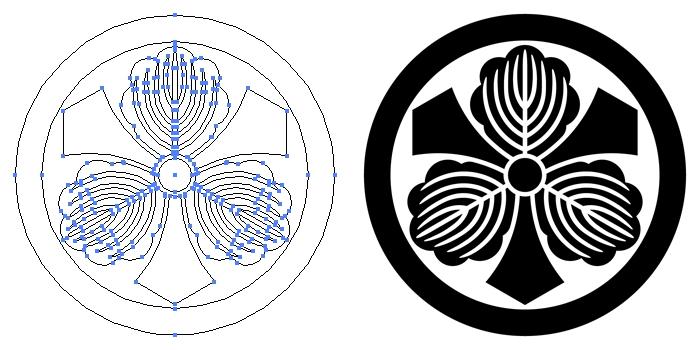 家紋・丸に剣三つ柏のプレビュー画像とパス画像