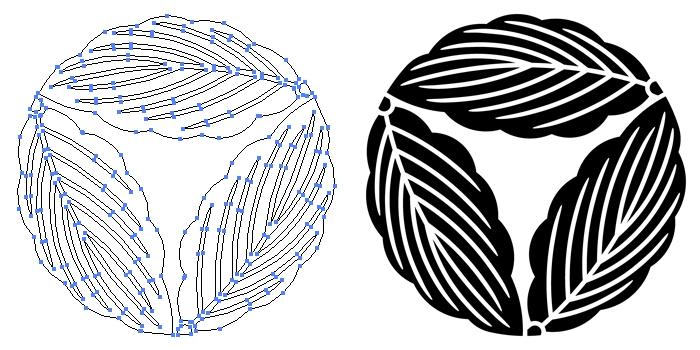 家紋・三つ追い柏のプレビュー画像とパス画像