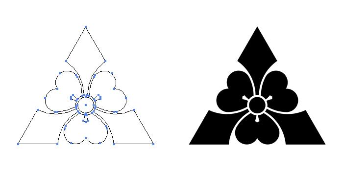 家紋・鱗形剣片喰のプレビュー画像とパス画像