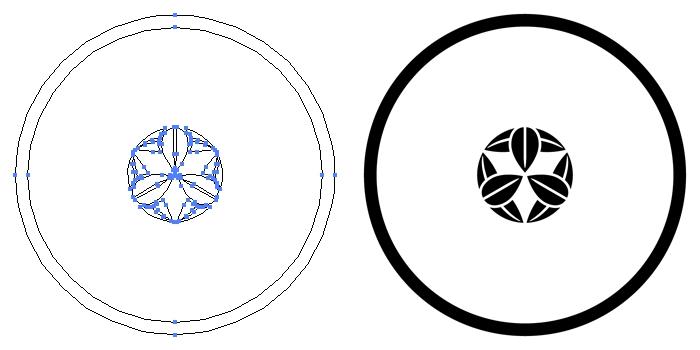 家紋・糸輪に豆九枚笹のプレビュー画像とパス画像