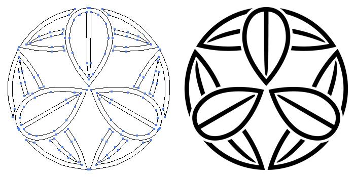 家紋・陰九枚笹のプレビュー画像とパス画像