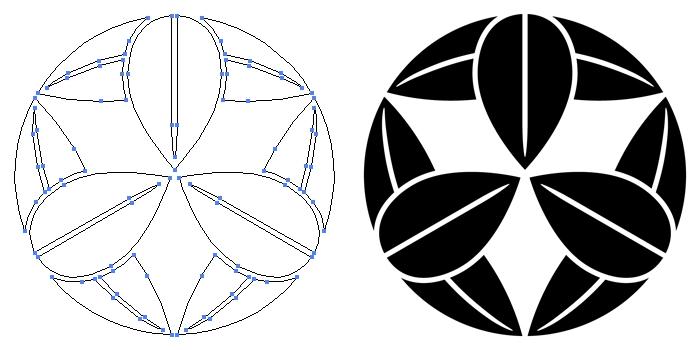 家紋・九枚笹のプレビュー画像とパス画像