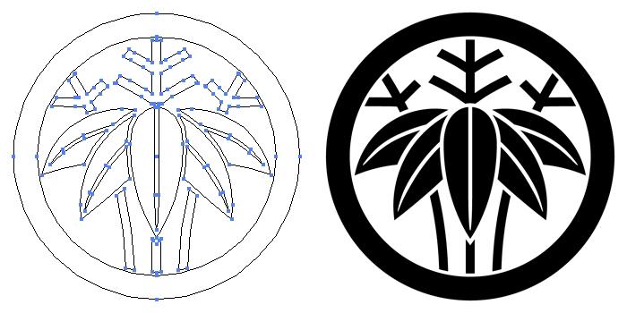 家紋・丸に変わり根笹のプレビュー画像とパス画像