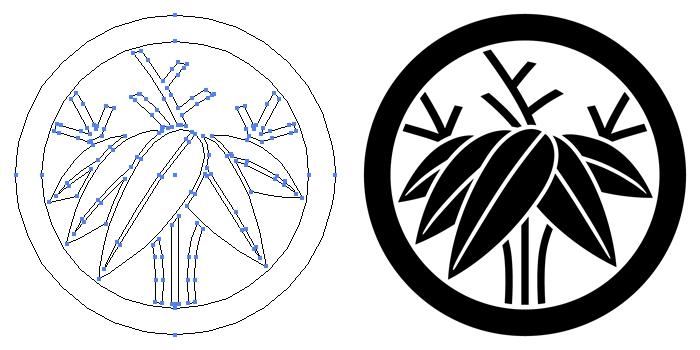 家紋・丸に根笹のプレビュー画像とパス画像