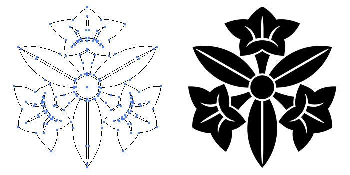 家紋・三つ葉桔梗のプレビュー画像とパス画像