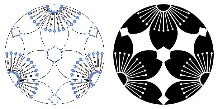家紋・三つ割り向かい山桜のプレビュー画像とパス画像