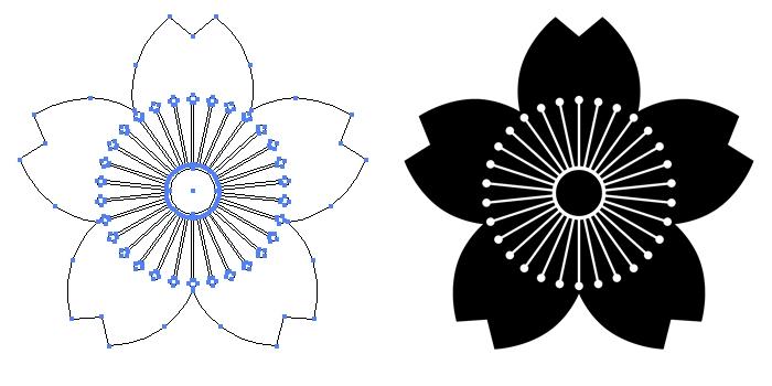 家紋・向こう山桜のプレビュー画像とパス画像