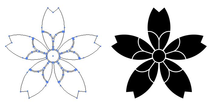 家紋・桜井桜のプレビュー画像とパス画像