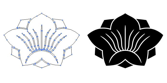家紋・八重花桔梗のプレビュー画像とパス画像