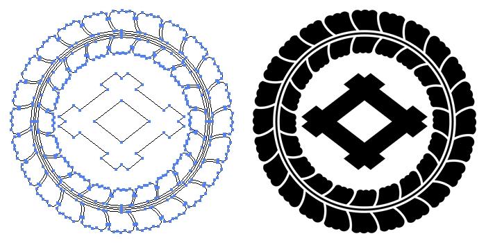 家紋・藤輪に井桁のプレビュー画像とパス画像