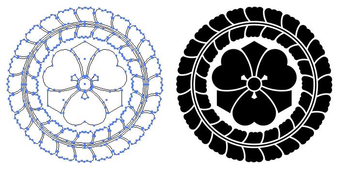 家紋・藤輪に剣片喰のプレビュー画像とパス画像