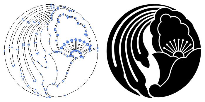 家紋・花茗荷の丸のプレビュー画像とパス画像