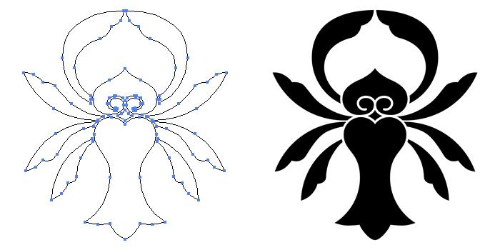 家紋・一つ花茗荷のプレビュー画像とパス画像