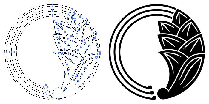 家紋・一つ蔓茗荷の丸のプレビュー画像とパス画像