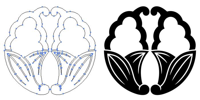 家紋・変わり抱き茗荷のプレビュー画像とパス画像
