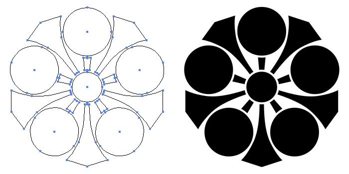 家紋・剣梅鉢のプレビュー画像とパス画像