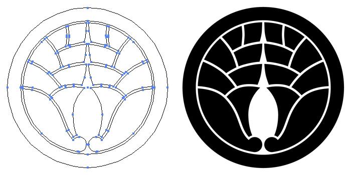 家紋・丸に八つ割り抱き茗荷のプレビュー画像とパス画像