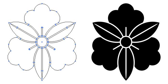 家紋・三つ葉藤のプレビュー画像とパス画像
