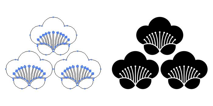 家紋・三つ盛り香い梅のプレビュー画像とパス画像