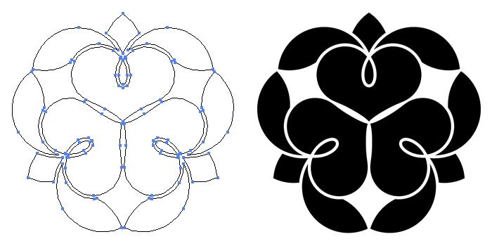 家紋・三つ寄せ藤の花のプレビュー画像とパス画像