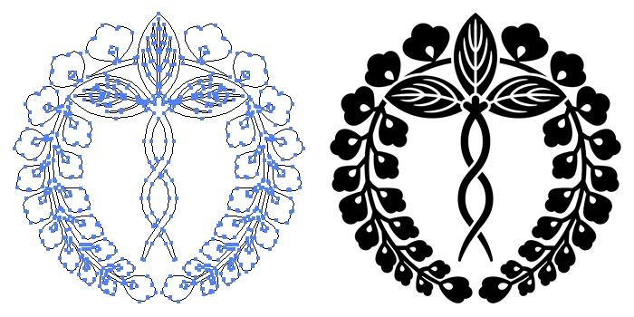 家紋・二条藤のプレビュー画像とパス画像