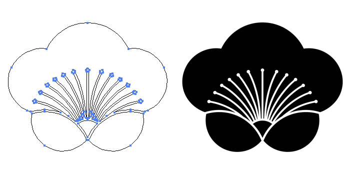 家紋・香い梅のプレビュー画像とパス画像