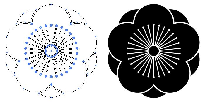 家紋・八重向こう梅のプレビュー画像とパス画像