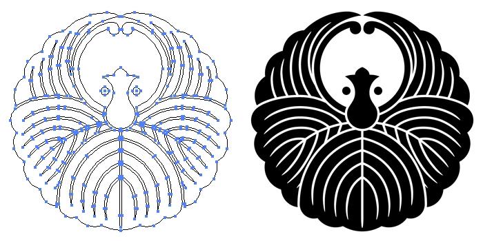 家紋・浮線蔦蝶のプレビュー画像とパス画像