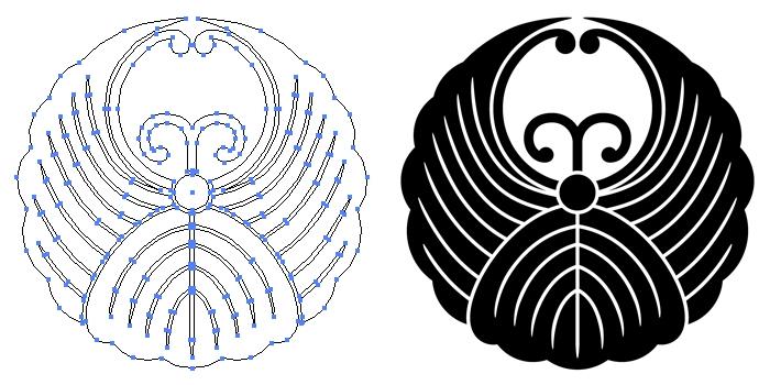 家紋・変わり浮線蔦のプレビュー画像とパス画像