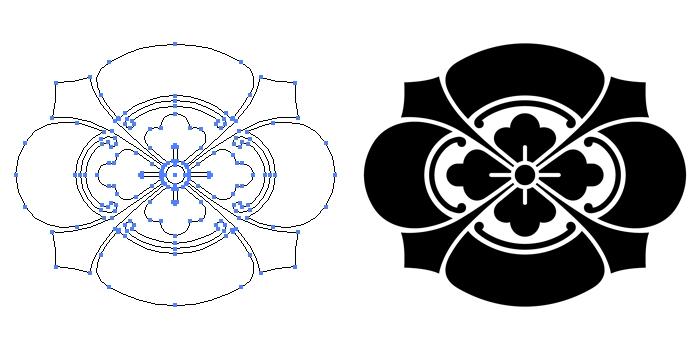 家紋・剣木瓜のプレビュー画像とパス画像
